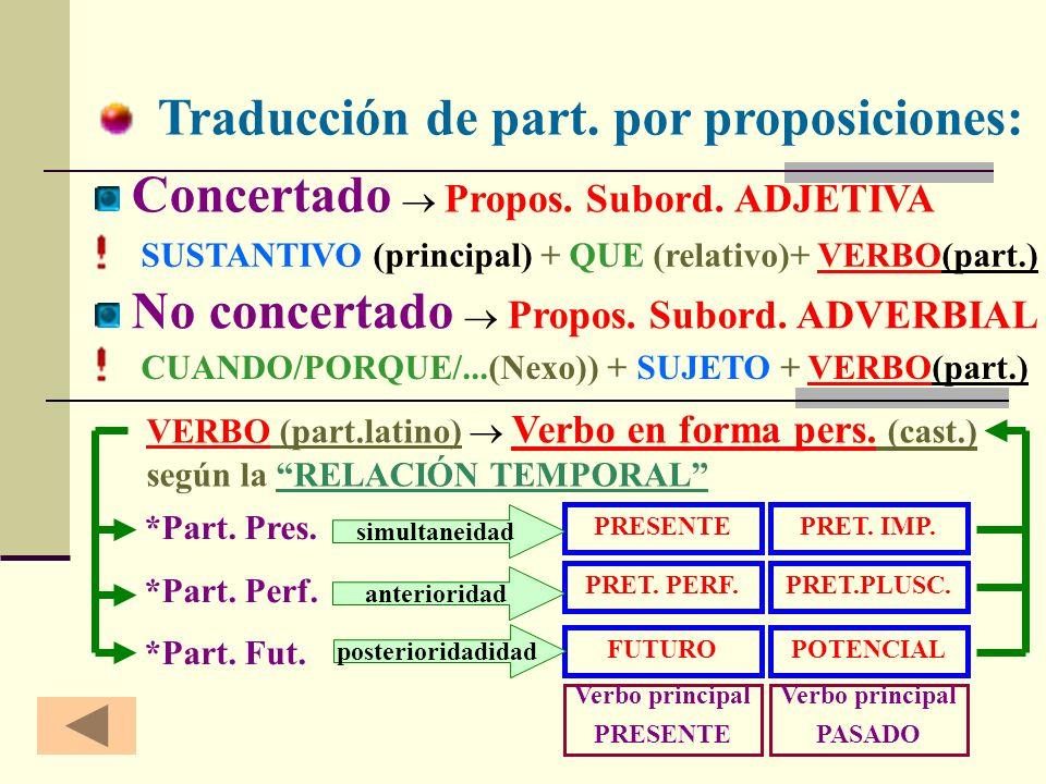 Traducción de part. por proposiciones: