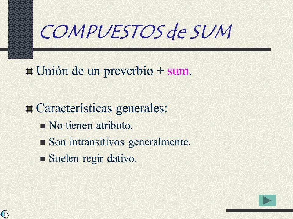 COMPUESTOS de SUM Unión de un preverbio + sum.