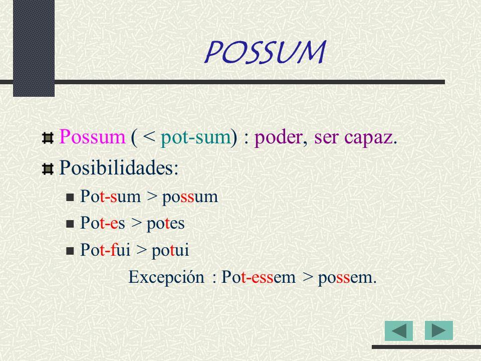 Excepción : Pot-essem > possem.