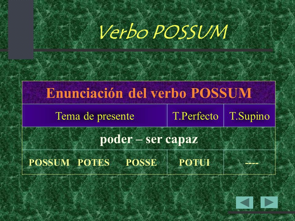 Enunciación del verbo POSSUM