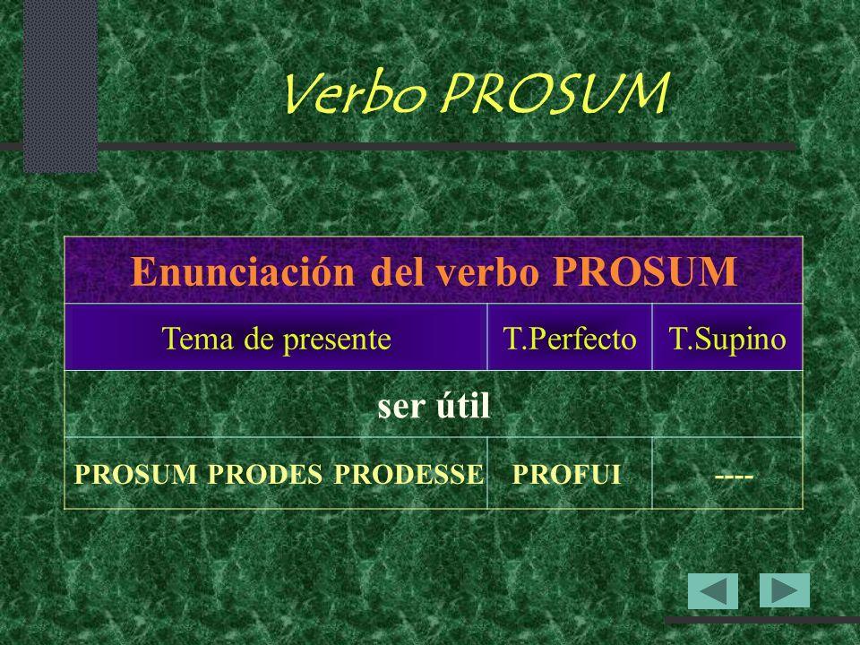 Enunciación del verbo PROSUM