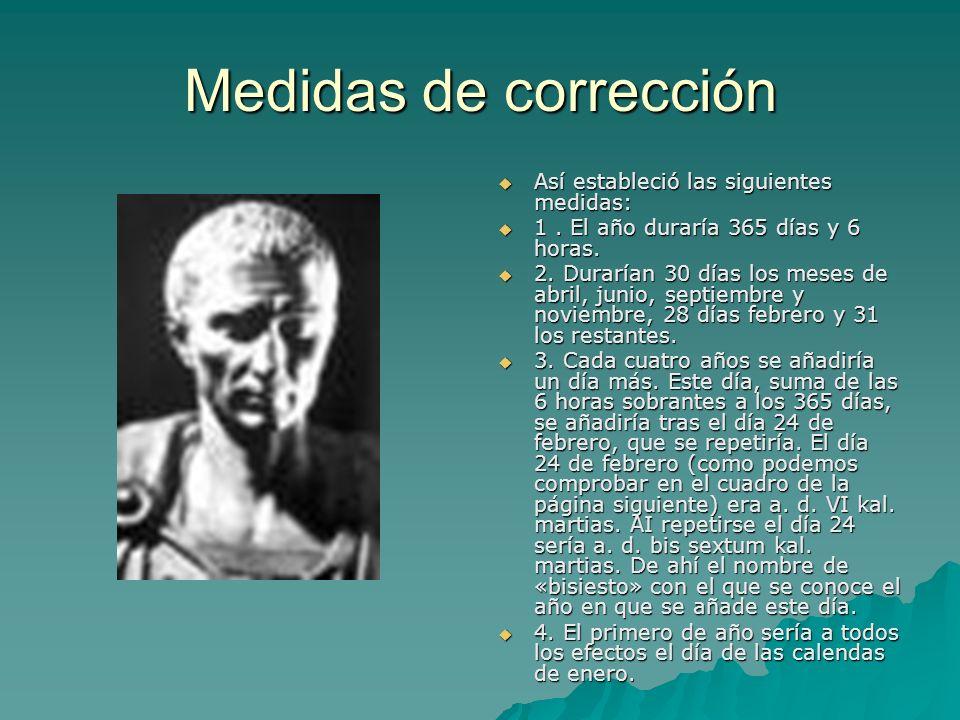 Medidas de corrección Así estableció las siguientes medidas: