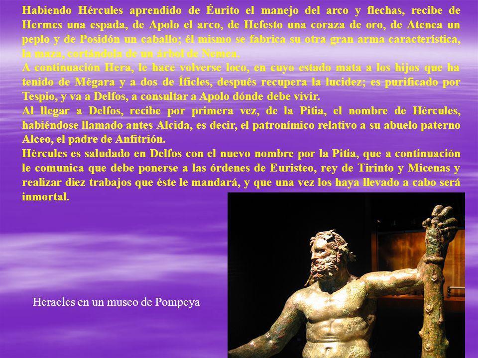 Habiendo Hércules aprendido de Éurito el manejo del arco y flechas, recibe de Hermes una espada, de Apolo el arco, de Hefesto una coraza de oro, de Atenea un peplo y de Posidón un caballo; él mismo se fabrica su otra gran arma característica, la maza, cortándola de un árbol de Nemea.