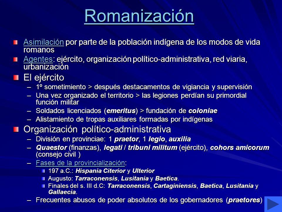 Romanización El ejército Organización político-administrativa
