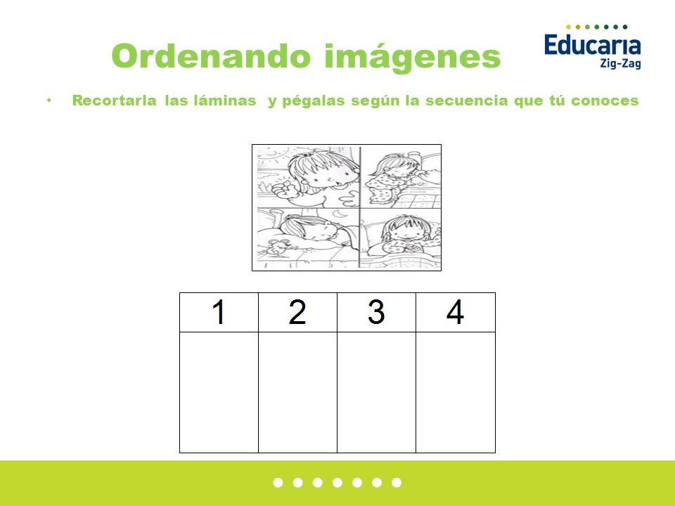 Ordenando imágenes Recortarla las láminas y pégalas según la secuencia que tú conoces