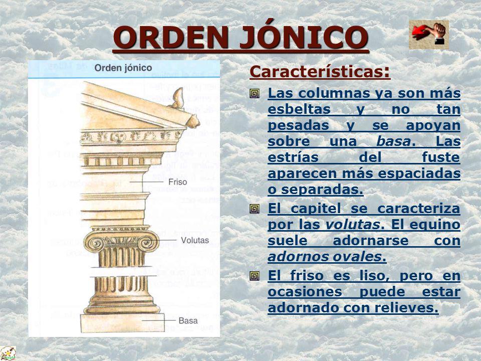 ORDEN JÓNICO Características: