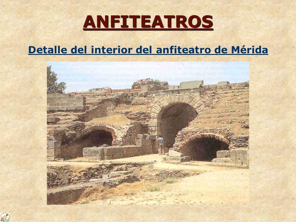 Detalle del interior del anfiteatro de Mérida