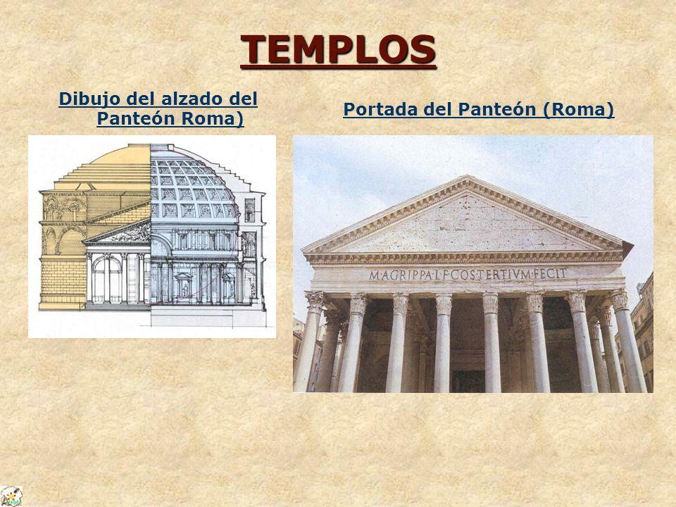 Dibujo del alzado del Panteón Roma) Portada del Panteón (Roma)