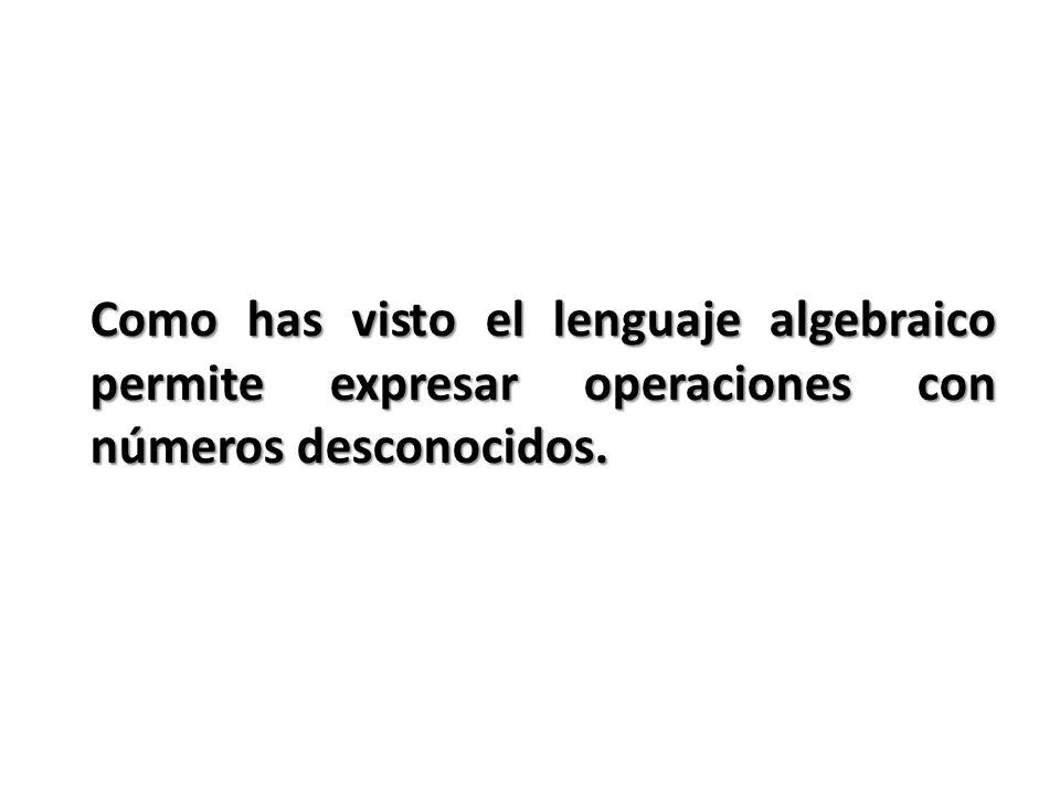 Como has visto el lenguaje algebraico permite expresar operaciones con números desconocidos.