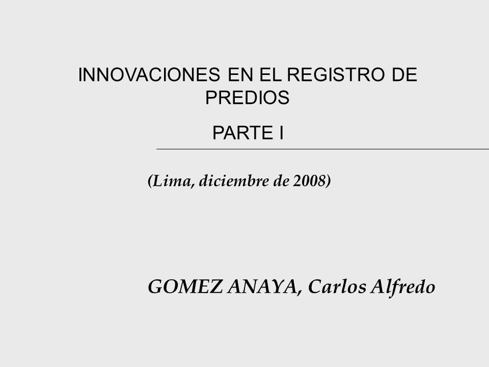 INNOVACIONES EN EL REGISTRO DE PREDIOS