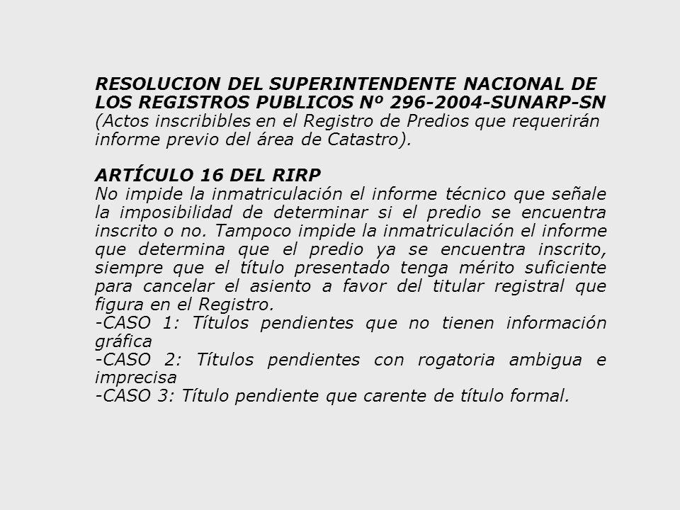 RESOLUCION DEL SUPERINTENDENTE NACIONAL DE LOS REGISTROS PUBLICOS Nº 296-2004-SUNARP-SN (Actos inscribibles en el Registro de Predios que requerirán informe previo del área de Catastro).