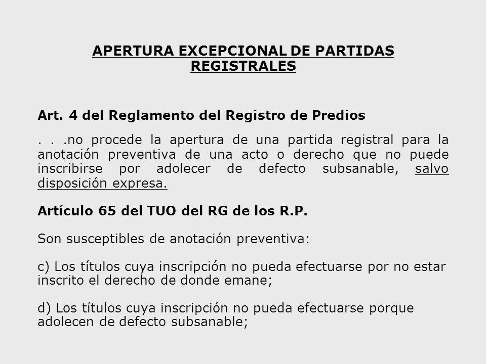 APERTURA EXCEPCIONAL DE PARTIDAS REGISTRALES