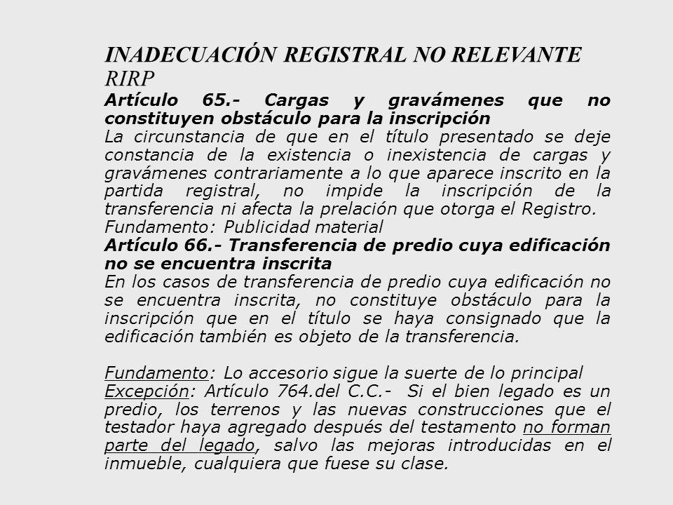 INADECUACIÓN REGISTRAL NO RELEVANTE RIRP
