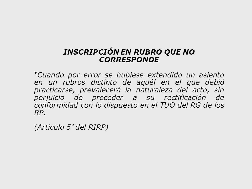 INSCRIPCIÓN EN RUBRO QUE NO CORRESPONDE
