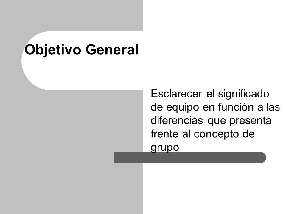 Objetivo General Esclarecer el significado de equipo en función a las diferencias que presenta frente al concepto de grupo.