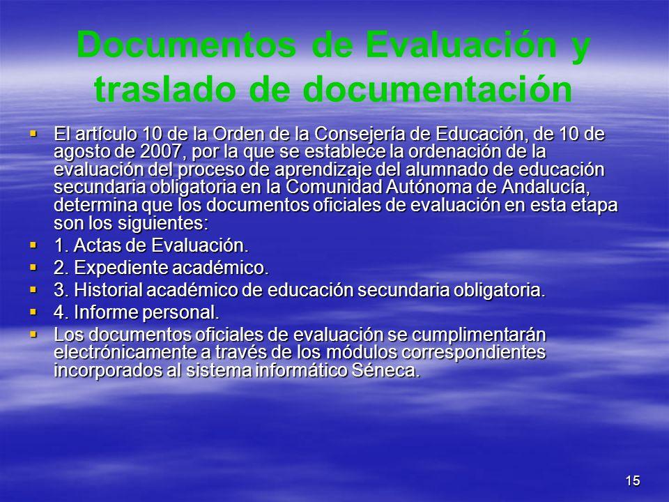 Documentos de Evaluación y traslado de documentación