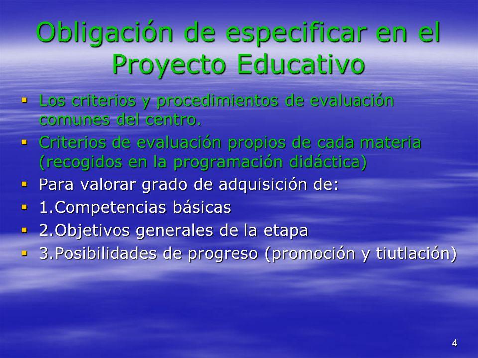 Obligación de especificar en el Proyecto Educativo