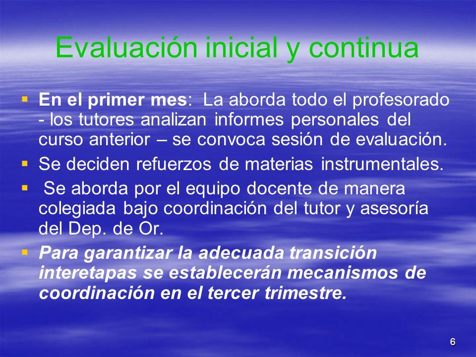 Evaluación inicial y continua