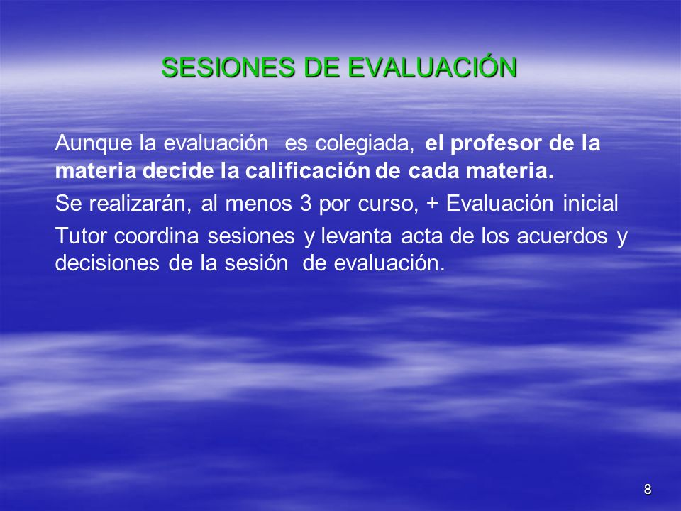 SESIONES DE EVALUACIÓN