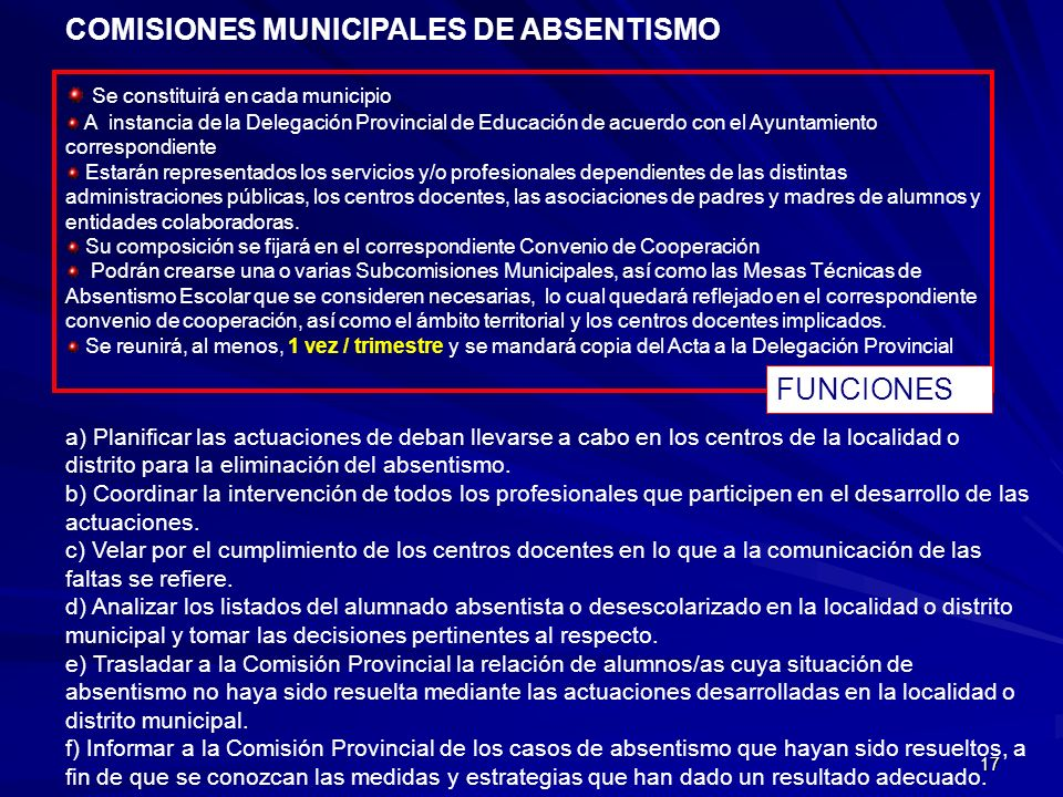 COMISIONES MUNICIPALES DE ABSENTISMO