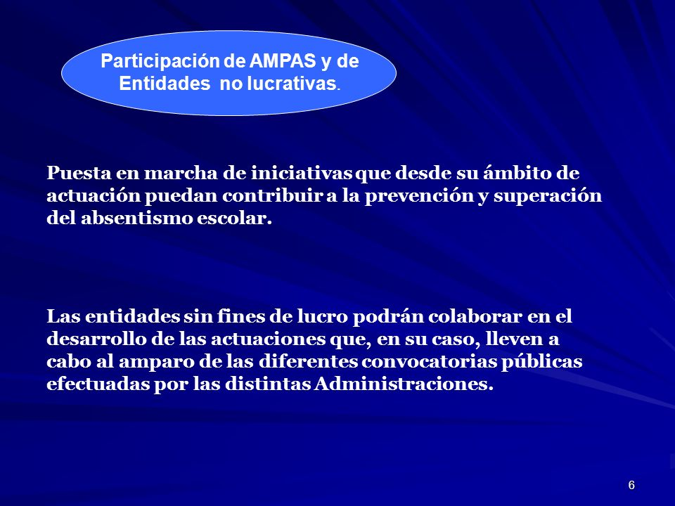 Participación de AMPAS y de Entidades no lucrativas.