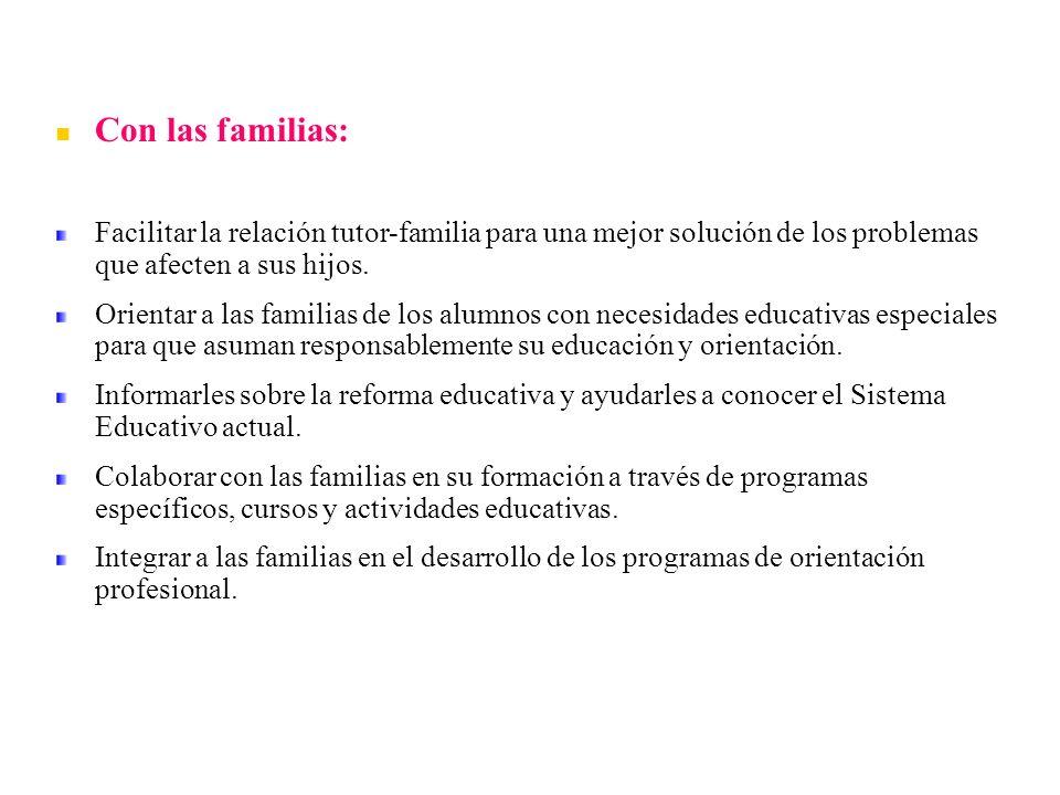 Con las familias: Facilitar la relación tutor-familia para una mejor solución de los problemas que afecten a sus hijos.