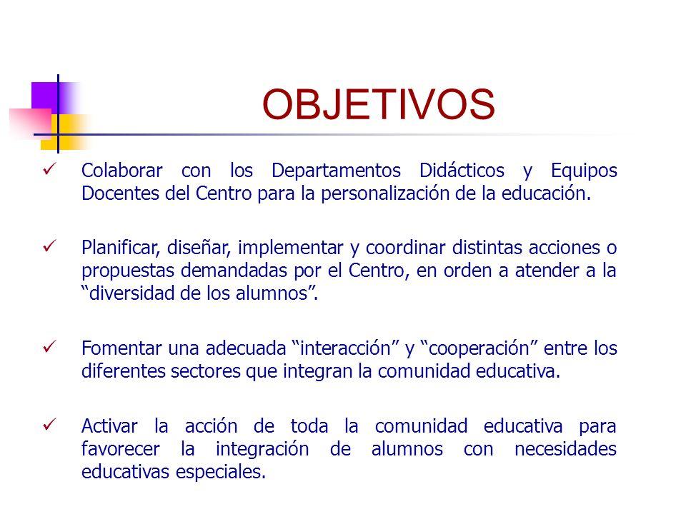 OBJETIVOS Colaborar con los Departamentos Didácticos y Equipos Docentes del Centro para la personalización de la educación.