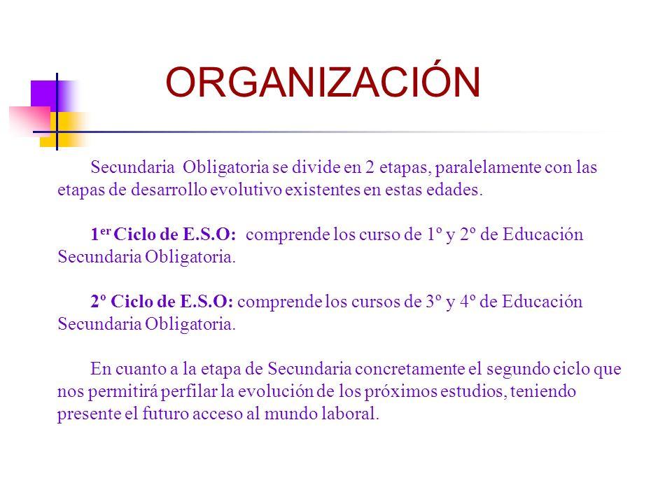 ORGANIZACIÓN Secundaria Obligatoria se divide en 2 etapas, paralelamente con las etapas de desarrollo evolutivo existentes en estas edades.