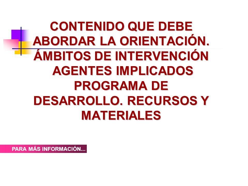 CONTENIDO QUE DEBE ABORDAR LA ORIENTACIÓN