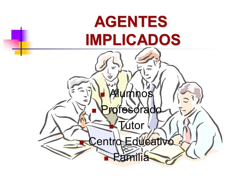 AGENTES IMPLICADOS Alumnos Profesorado Tutor Centro Educativo Familia