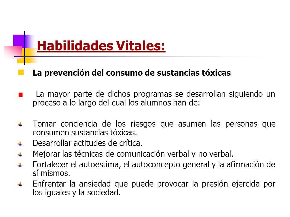 Habilidades Vitales: La prevención del consumo de sustancias tóxicas