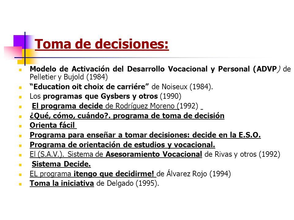 Toma de decisiones: Modelo de Activación del Desarrollo Vocacional y Personal (ADVP) de Pelletier y Bujold (1984)