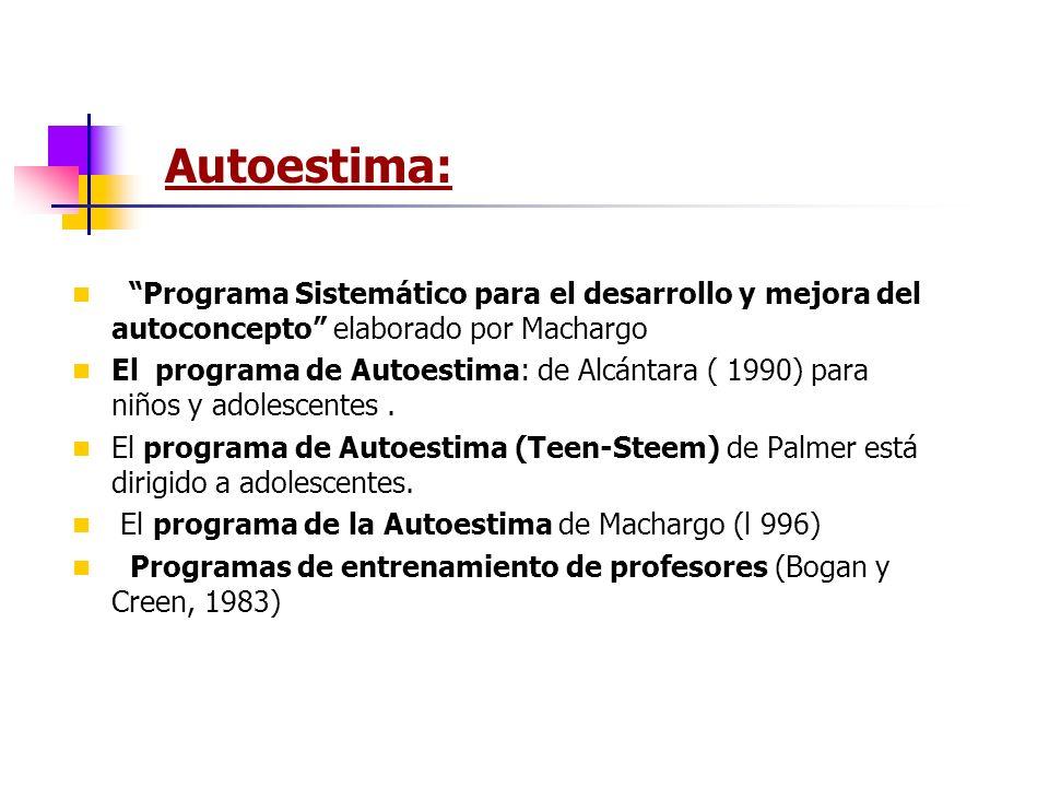 Autoestima: Programa Sistemático para el desarrollo y mejora del autoconcepto elaborado por Machargo.