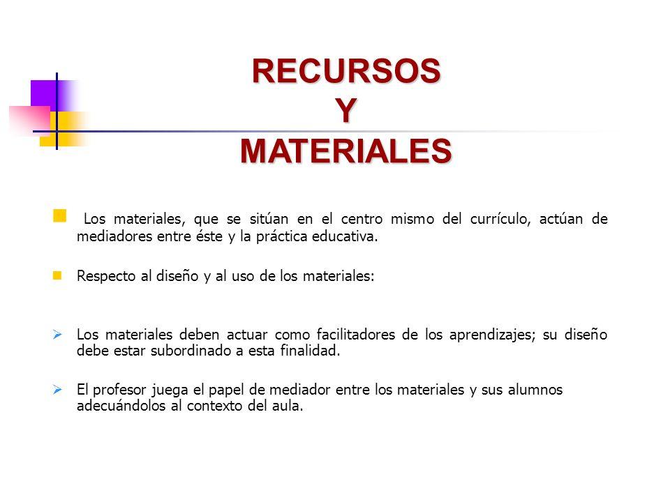 RECURSOS Y MATERIALES Los materiales, que se sitúan en el centro mismo del currículo, actúan de mediadores entre éste y la práctica educativa.