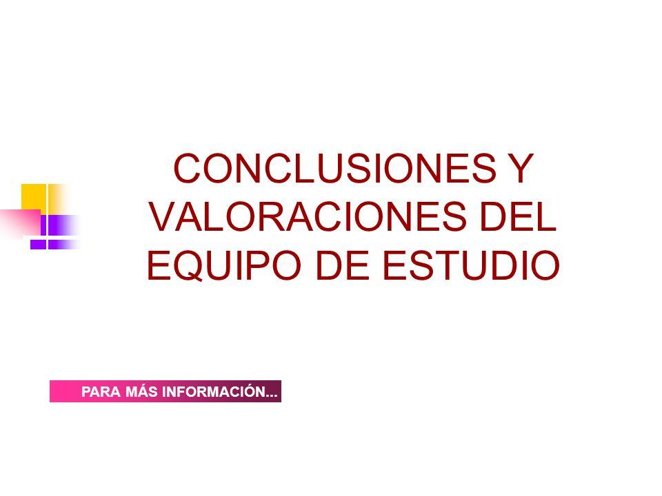 CONCLUSIONES Y VALORACIONES DEL EQUIPO DE ESTUDIO