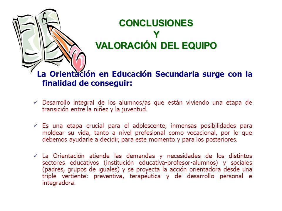 CONCLUSIONES Y VALORACIÓN DEL EQUIPO