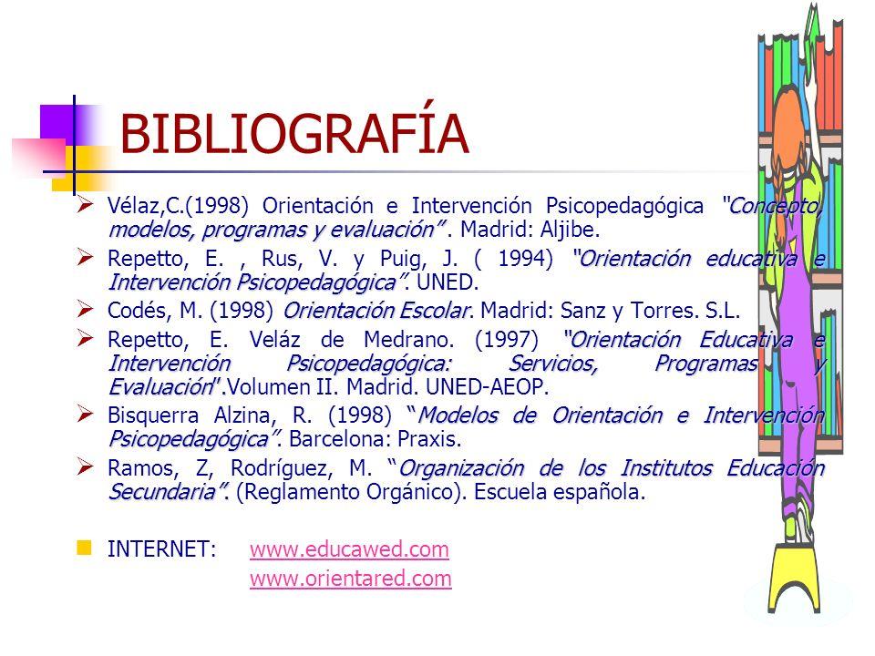 BIBLIOGRAFÍA Vélaz,C.(1998) Orientación e Intervención Psicopedagógica Concepto, modelos, programas y evaluación . Madrid: Aljibe.