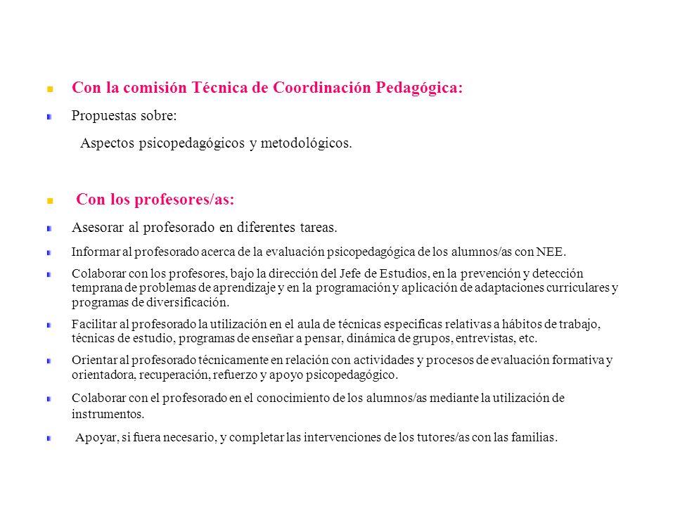 Con la comisión Técnica de Coordinación Pedagógica:
