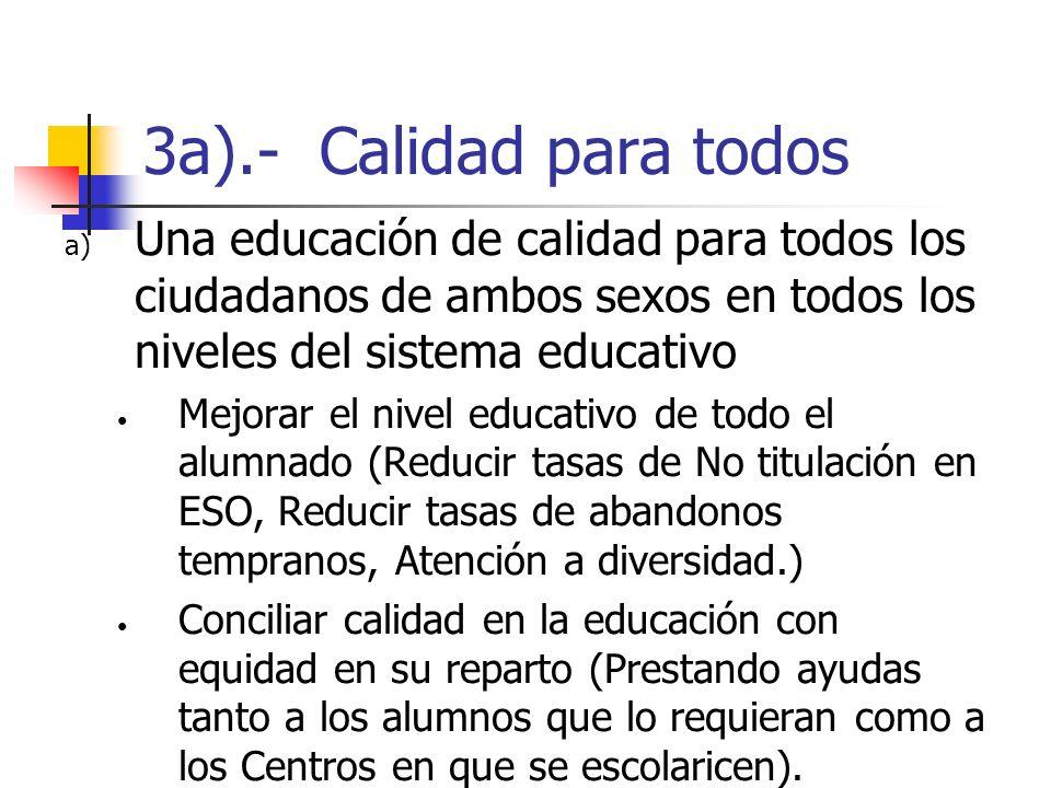 3a).- Calidad para todosUna educación de calidad para todos los ciudadanos de ambos sexos en todos los niveles del sistema educativo.