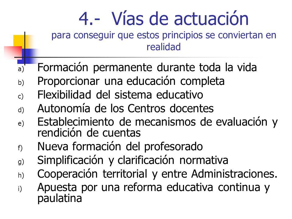 4.- Vías de actuación para conseguir que estos principios se conviertan en realidad