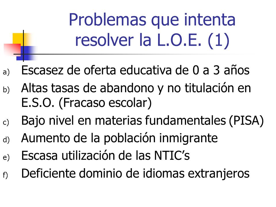 Problemas que intenta resolver la L.O.E. (1)
