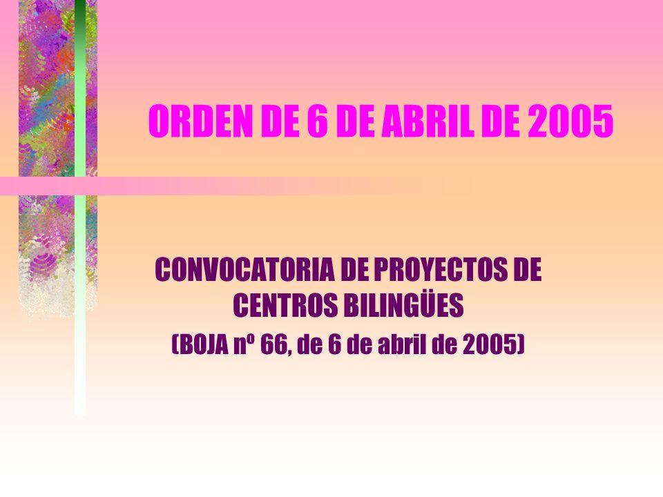 CONVOCATORIA DE PROYECTOS DE CENTROS BILINGÜES