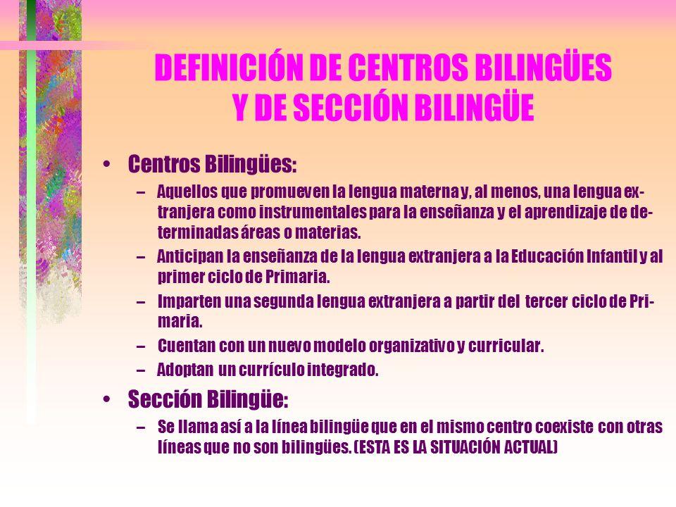 DEFINICIÓN DE CENTROS BILINGÜES Y DE SECCIÓN BILINGÜE