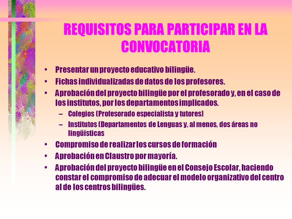 REQUISITOS PARA PARTICIPAR EN LA CONVOCATORIA
