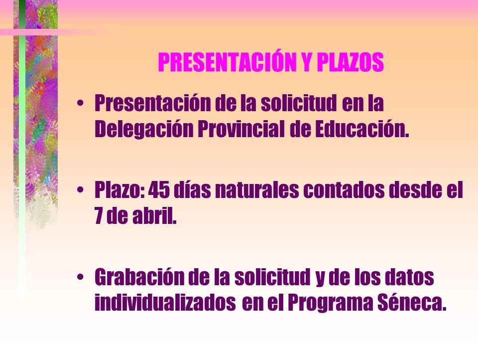 PRESENTACIÓN Y PLAZOS Presentación de la solicitud en la Delegación Provincial de Educación. Plazo: 45 días naturales contados desde el 7 de abril.