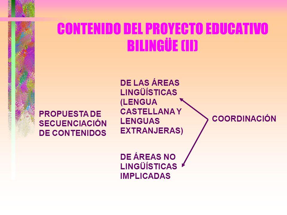 CONTENIDO DEL PROYECTO EDUCATIVO BILINGÜE (II)