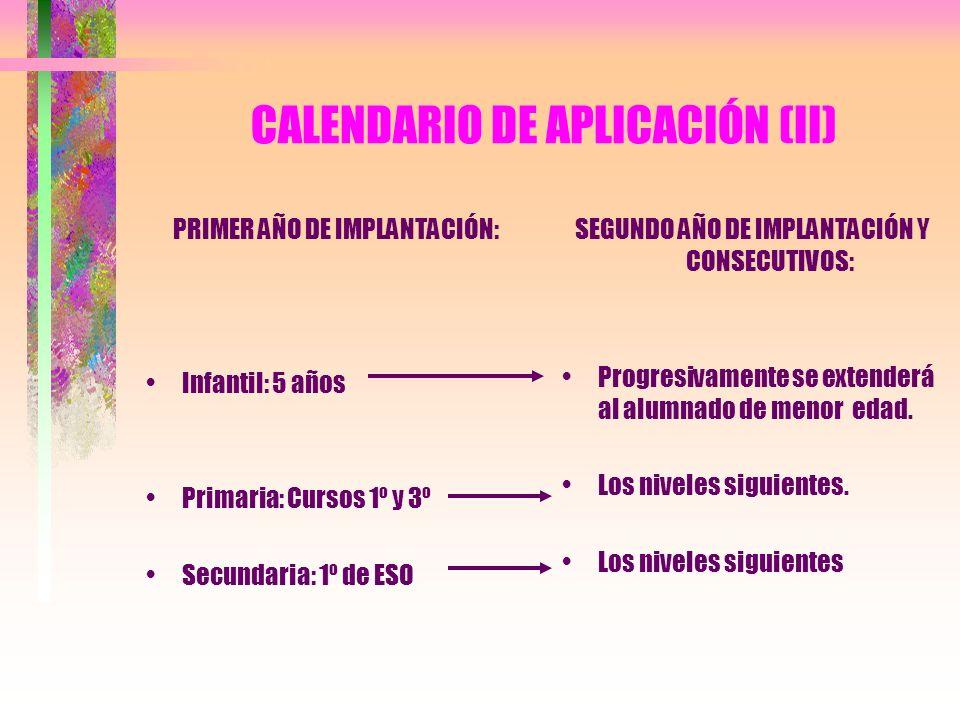 CALENDARIO DE APLICACIÓN (II)