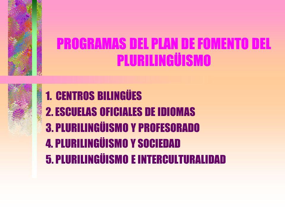 PROGRAMAS DEL PLAN DE FOMENTO DEL PLURILINGÜISMO
