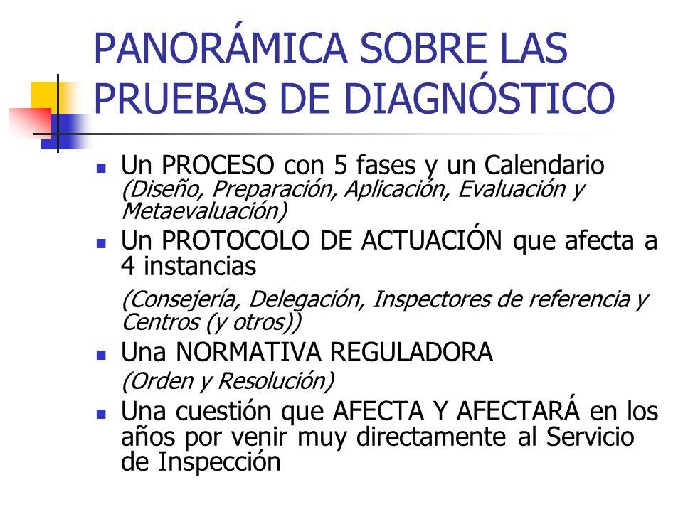 PANORÁMICA SOBRE LAS PRUEBAS DE DIAGNÓSTICO