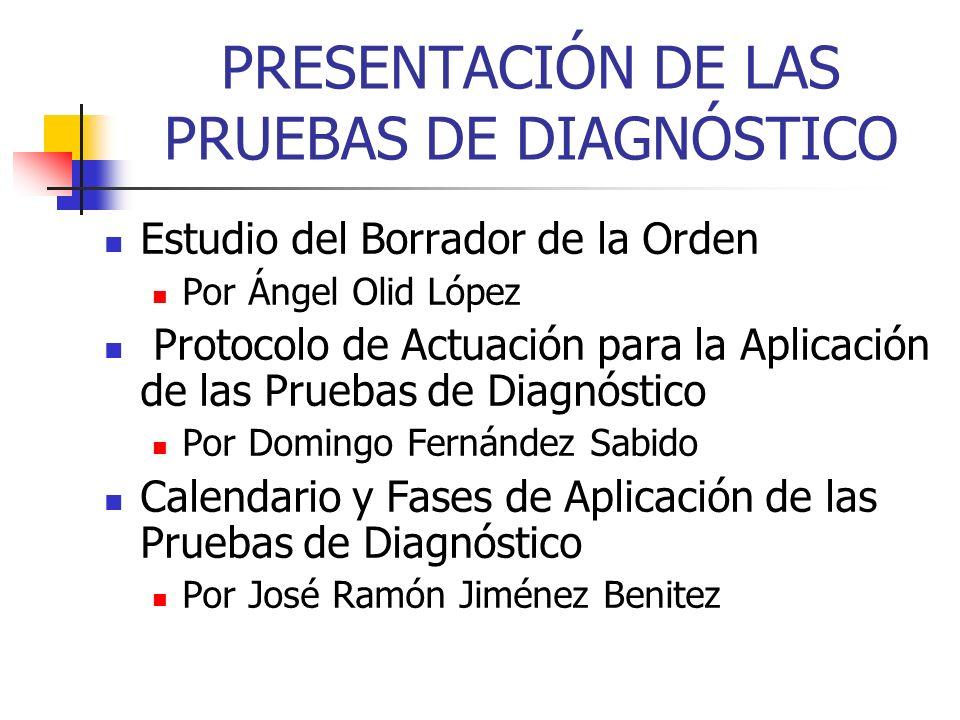 PRESENTACIÓN DE LAS PRUEBAS DE DIAGNÓSTICO